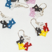 Beaded Star Earrings, by Verine Black Elk, Lakota