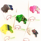Hand Painted Buffalo Pin, by Lorri Ann Two Bulls, Oglala Lakota